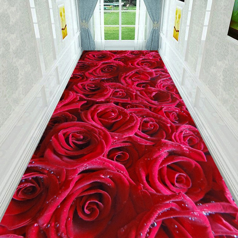 100*200cm Customized 3D Floral Plant Hallway Carpet Pastoral Rugs Corridor Floor Mat Soft Aisle Stairs Anti-slip Long Runner Mat