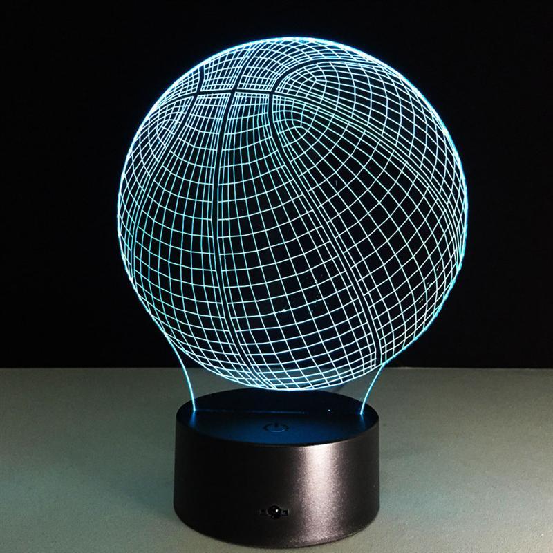 Acrylic Basketball Shape 7 Color 3D LED Nightlight Of Bedroom Lamp Livingroom Lights Desk Table Decoration Night Light