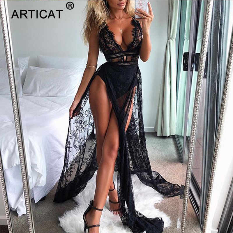 Articat Черное длинное кружевное платье с высоким разрезом женские прозрачные вечерние платья макси с высокой талией летнее платье с v-образным вырезом и открытой спиной 2018