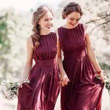 a09af15723 Bordeaux marron pays demoiselles d'honneur robes 2019 bijou cou Marsala  mousseline de soie Maxi