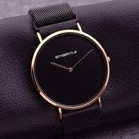 Luxury Fashion Japan Quartz Black Ultra Thin Man Watch Rose Gold Woman Simple Leather Magnet Mesh