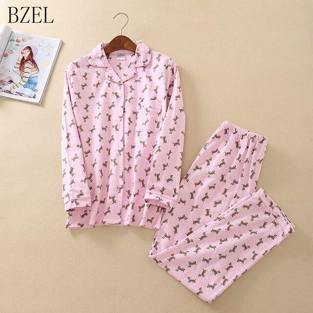 e598ac14f5f9 BZEL Cute Cotton Sleepwear Women Pajama Sets Pink Cartoon Dog Long Sleeve  Autumn Winter Pijamas Femme Pyjamas Leisure Home Cloth