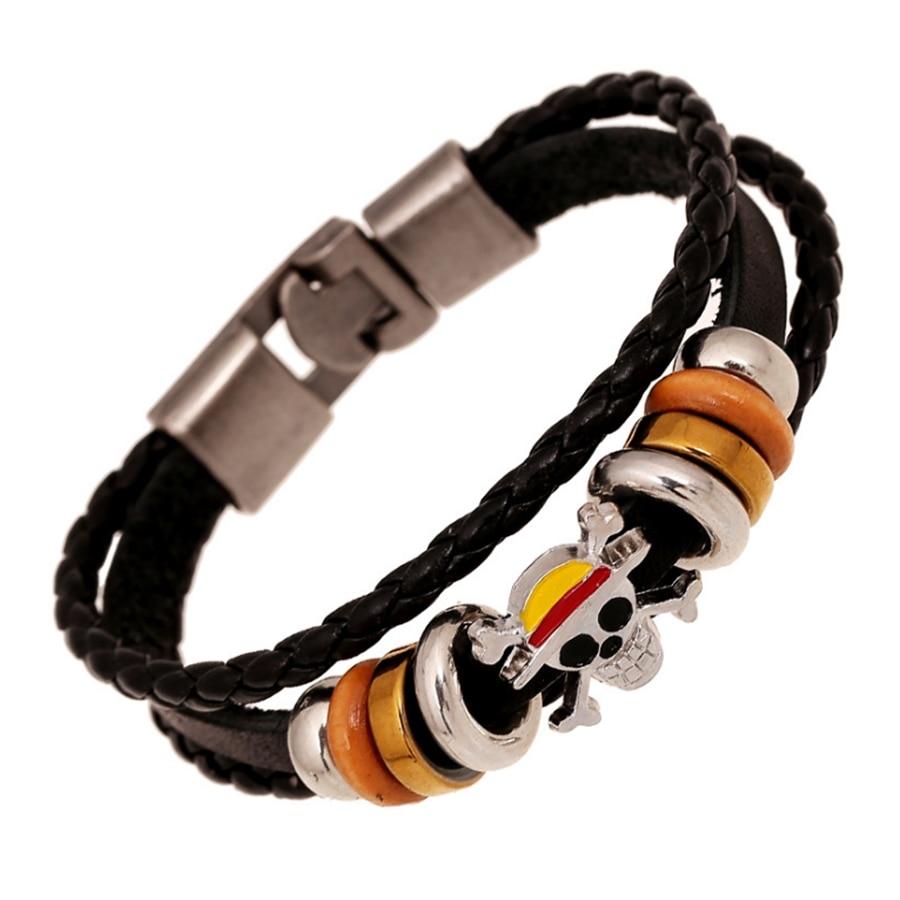 2019 Anime One Piece Logo Bracelets Men Women Fashion Cowhide Bracelet