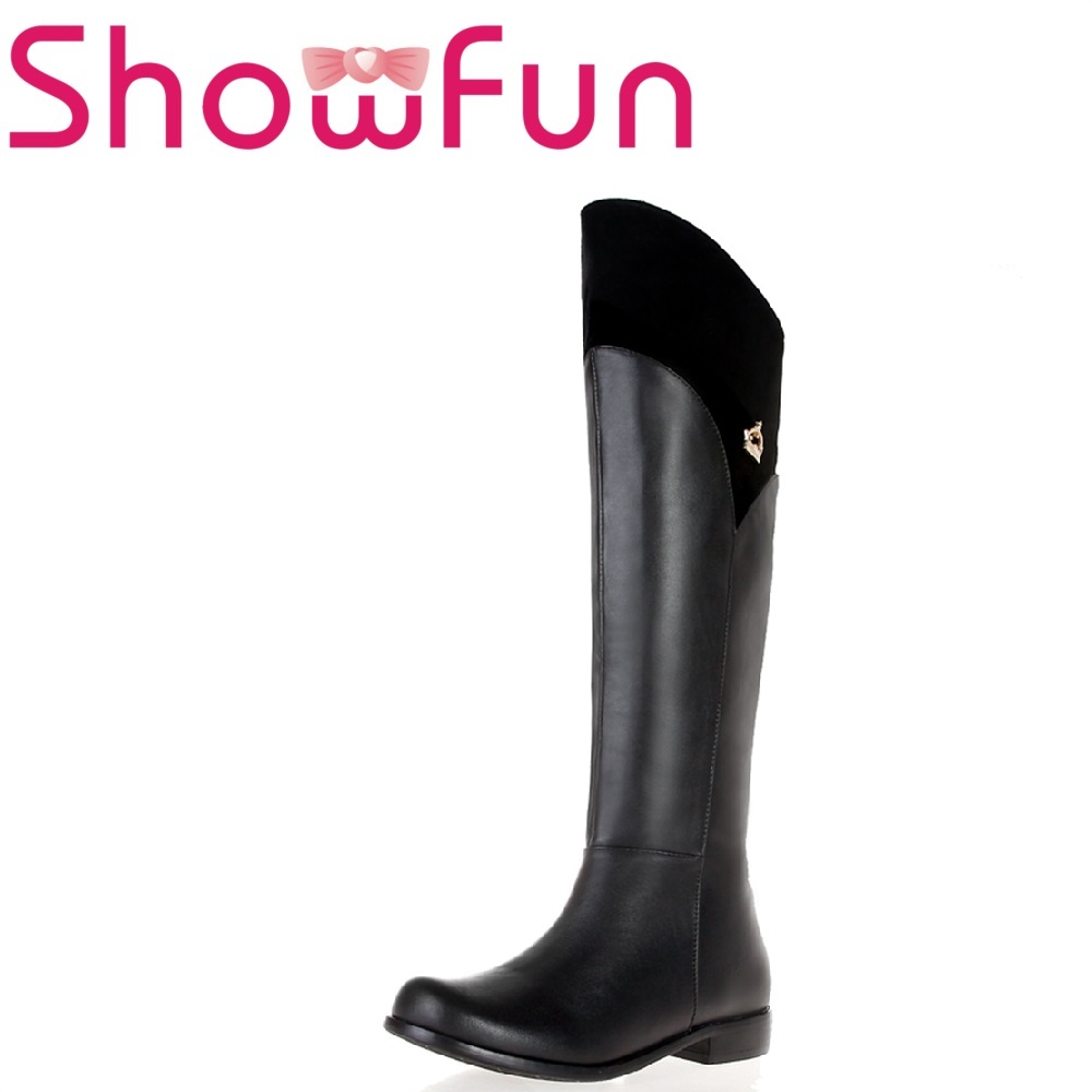 Showfun genuine leather shoes woman winter solid knee-high round toe zipper short plush square heel boots boots women high heel black crystal winter zipper shoes 2017 round toe square heel knee high short plush platform leather boots