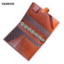 K & KBook Натуральная кожа notebook A7 Карманный Ручной Sprial дневник журнал ноутбук Классический старинные Коровьей Пополнения Блокнот