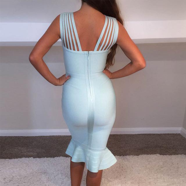 Runway Vestidos New Summer Bandage Dresses Women Knee Length Bodycon Vestidos Sexy Mermaid Celebrity Pary Dress