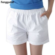 Fashion Summer Women Cotton Shorts Casual Elastic Waist Candy Solid Color Short Pants Fs99