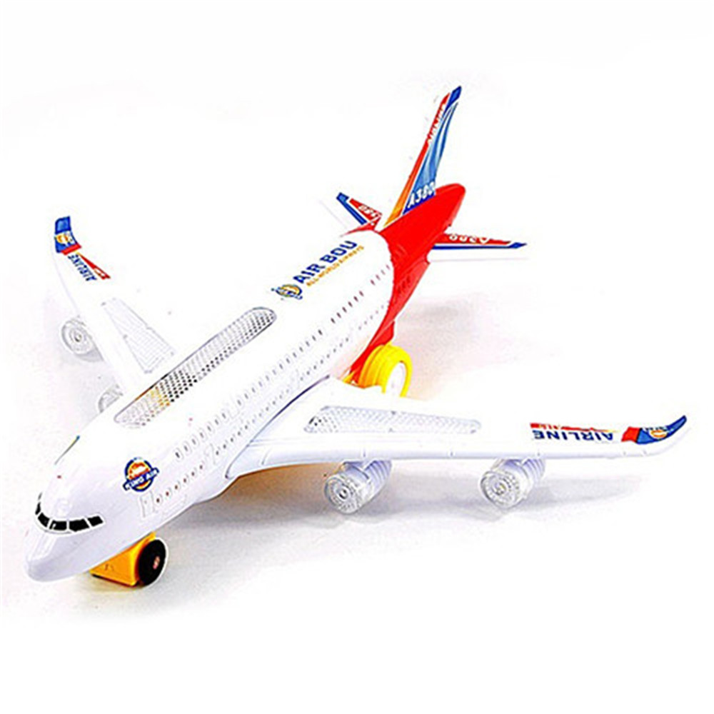 Fashion Plastic <font><b>Airbus</b></font> <font><b>A380</b></font> <font><b>Model</b></font> Airplane Electric Flash Light Sound Toys Aircraft <font><b>Model</b></font> Airplane Toys for Kids image