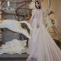 Langen Ärmeln Semi A Line Lange Zug Perlen Gürtel Elegante Neue ankunft Jusere Besten V Cape Leichte Glänzende Schlanken Hochzeitskleid 2018