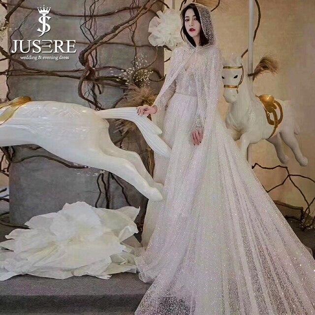 Long Sleeves Semi A Line Long Train Beading Belt Elegant New Arrival Jusere Best V Cape Slight Shining Slim Wedding Dress 2018