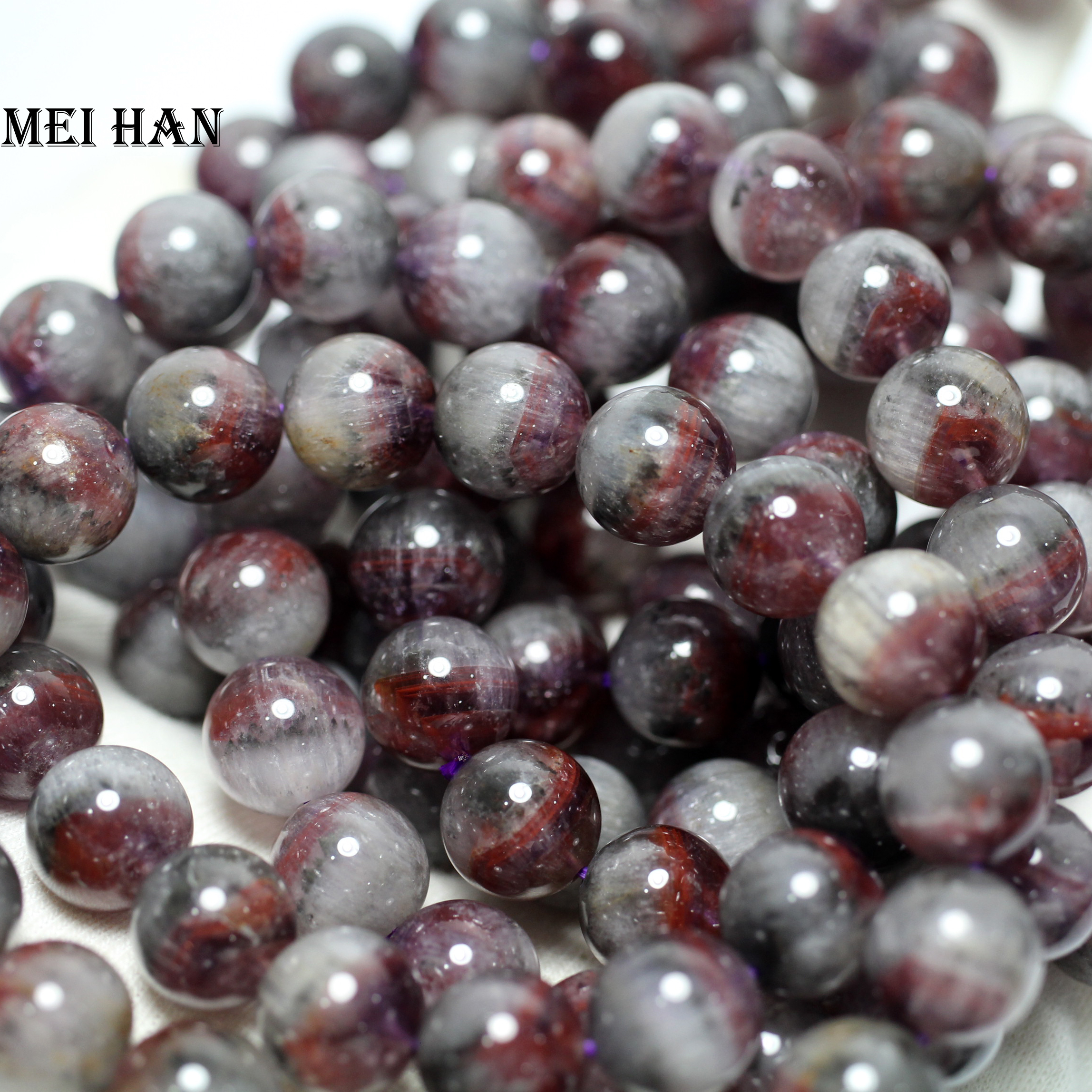 Meihan Wholesale Approx 38g 18pcs set 11 5 12mm genuine rare Auralite 23 quartz smooth round