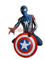 New Arrival Captain America Costume Spiderman Costume Hybrid Adult Spandex Halloween Cosplay Costumes Fullbody Show Suit