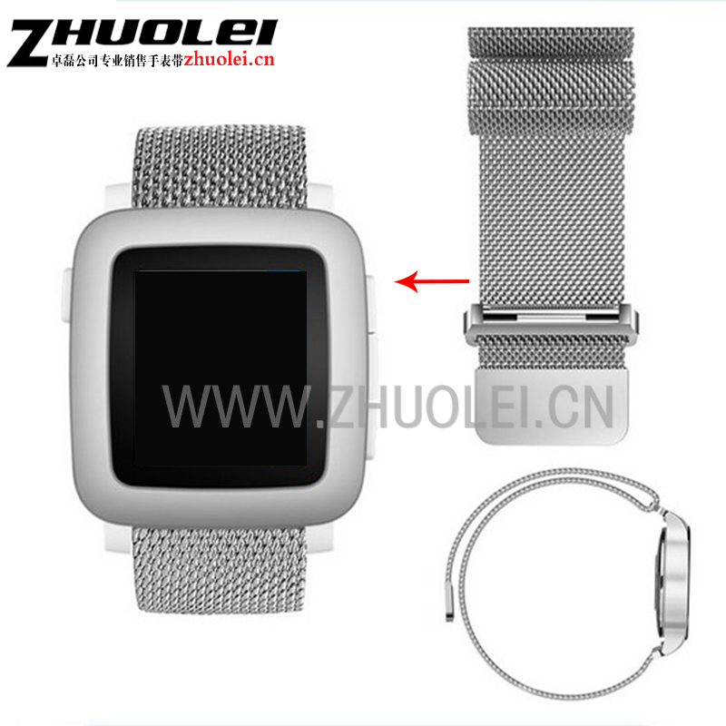 22mm Milanese Loop Band Stainless Steel Bracelet Magnetic Strap for Pebble Time Steel ASUS Zenwatch 2 LG G Watch W100 watchband