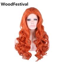 WoodFestival bayan peruk sentetik saç isıya dayanıklı sentetik peruk kıvırcık peruk uzun kahverengi turuncu peruk 70 cm bayanlar günlük