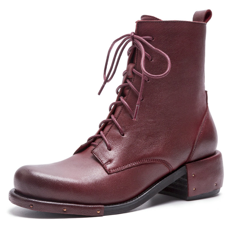 Genuine Leather Combat boots Woman New Fashion Comfort Round Toe Square Heel Ankle Boots Women Luxury Cross-tied Dr Martens RedGenuine Leather Combat boots Woman New Fashion Comfort Round Toe Square Heel Ankle Boots Women Luxury Cross-tied Dr Martens Red