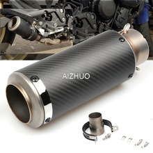 51mm 61mm Motorcycle Exhaust Muffler Pipe Escape Carbon Fiber for yamaha r15 mt07 benelli msx125 fz1 fz6 pit bike