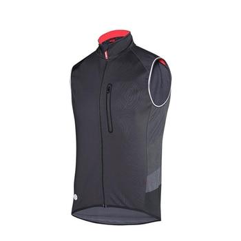Santic Spring Autumn Men Cycling Vest Windproof Reflective Sleeveless Anti-sweat Road Bike Vest Warm Jackets   safety vest