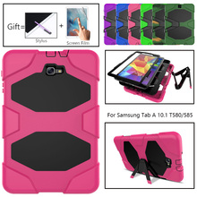Amor Heavy Duty case For Samsung Galaxy Tab A 10.1 2016 T585 T580 Tablet GLF Soft Silicone +PC Back Cover Kickstand Case