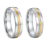 1 çift severler klasik titanium çelik takı düğün bantları yüzükler çiftler için setleri