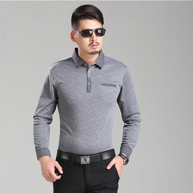 Men Polo Shirt 2017 New Winter S Long Sleeve Lapel Striped Clic Fashion Business Casual
