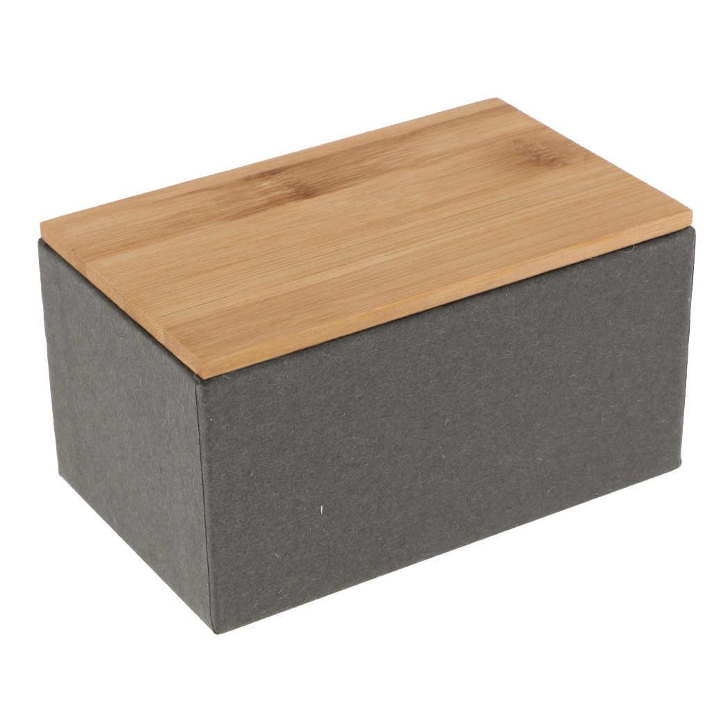 Bambus Deckel Lagerung Boxen Holz Container Organizer Tee Lagerung Box Caddy Gläser Kaffee Dosen