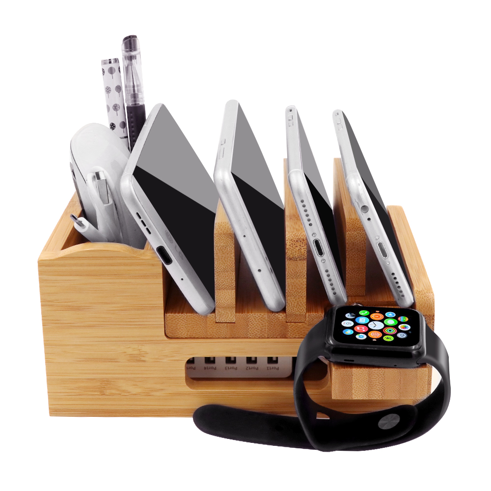 Image 3 - iCozzier Bamboo Charging Station Dock Desktop Organizer Holder for iPad,iWatch Stand Cord Organizer MultiDevices Docking Station-in Home Office Storage from Home & Garden