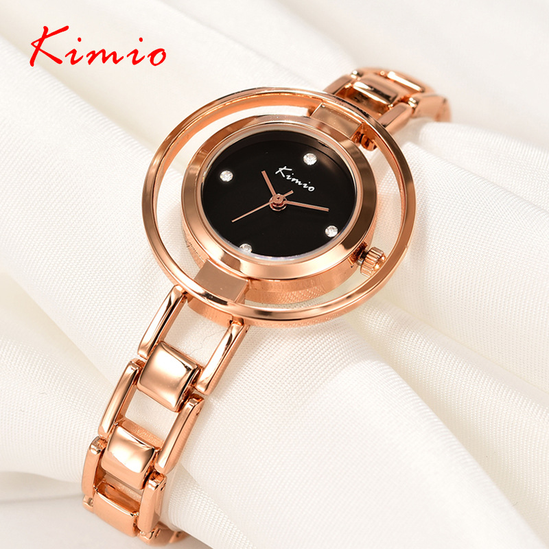 KIMIO Double Ring dial Diamond Scale Jewelry Bracelet Fashion Womens Watches Top Brand 2017 Rose Gold