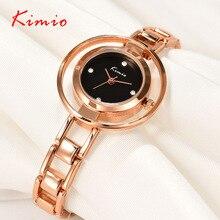 KIMIO Anillo Doble Escala del dial Del Diamante Pulsera Joyería de Moda Para Mujer Relojes Top Brand 2017 de Oro Rosa Relojes de Pulsera Para Las Mujeres
