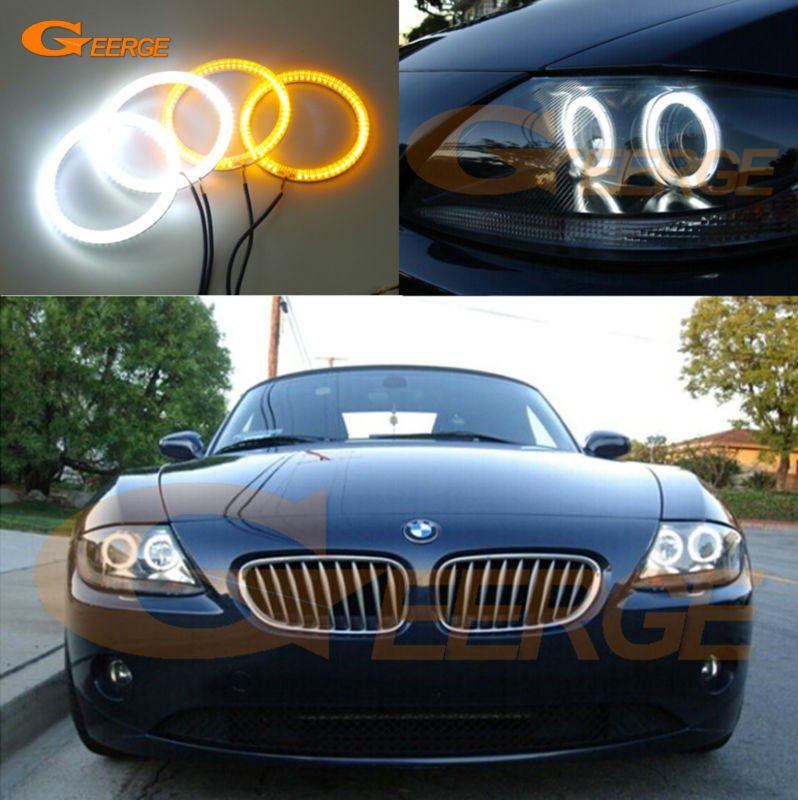 For BMW Z4 E85 E86 2002 2003 2004 2005 2006 2007 2008 Excellent Ultra bright Dual Color Switchback smd LED Angel Eyes kit cawanerl car 5630 smd led bulb interior led kit package white for chevrolet trailblazer 2002 2003 2004 2005 2007 2008 2009