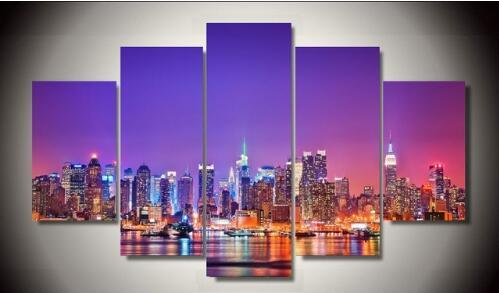 HD Gedruckt new york city skyline Poster 5 stück malerei wandkunst raumdekor...