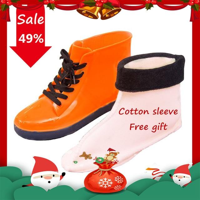 KESMALL Kadın yağmur çizmeleri Su Geçirmez yağmur ayakkabıları Kış Pamuk Kar Botları bayanlar Kauçuk Ayak Bileği yağmur çizmeleri Üzerinde Kayma Botas WS265
