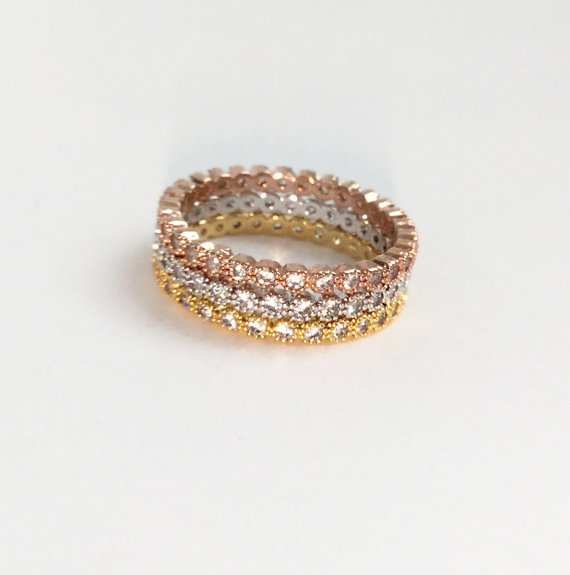size #5,6,7,8,9 various colors stackable 925 sterling silver women eternity band wedding ...