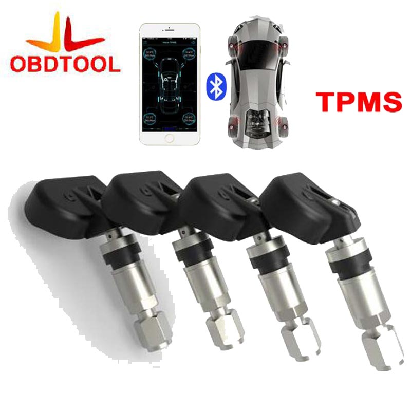 NEW Car Tire Tyre Pressure Monitoring System TPMS Alarm Warning By Bluetooth 4.0 For Iphone IOS Android Mobile Phone APP