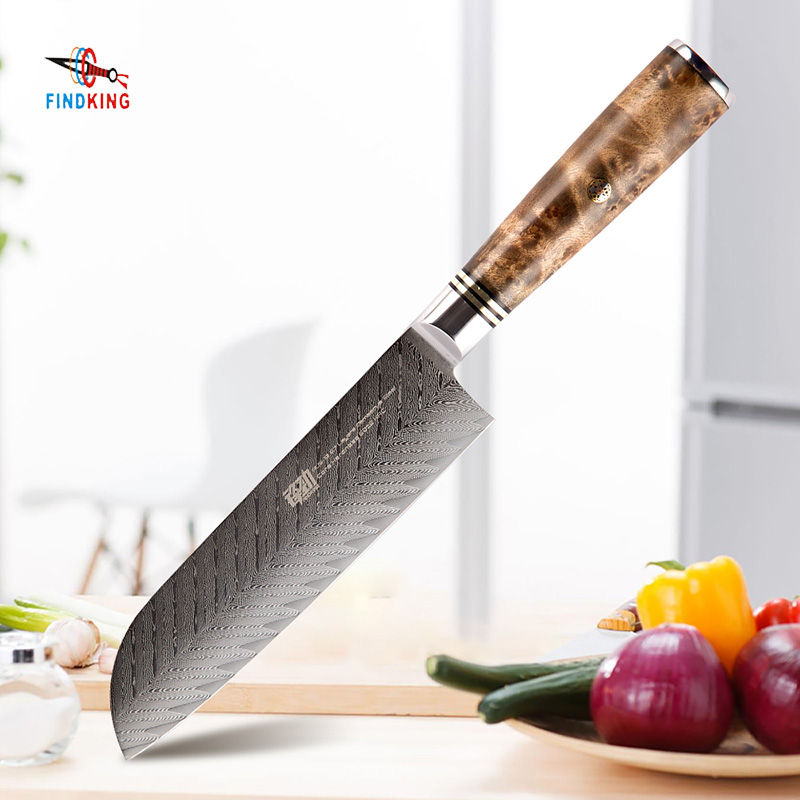 FINDKING AUS 10 damascus steel Sapele wood handle arrow pattern damascus knife 7 inch Santoku knife