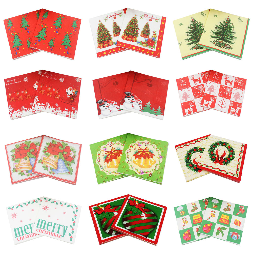 rainloong santa decorative paper napkins snowman for christmas decoration guardanapo 3333cm 20pcs - Decorative Paper Napkins