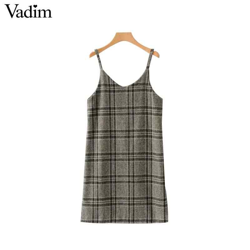 Vadim женское шикарное клетчатое шерстяное платье клетчатые бретельки без рукавов с боковой молнией женские повседневные платья vestidos QA704