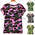 4 colors Women Camouflage T-shirts Bat sleeve t shirts Stretch Cotton tees Modal tops Personalized jersey Plus size S/M