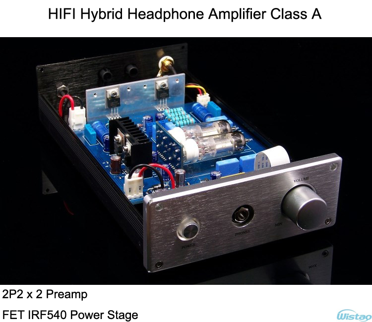 IWISTAO HIFI Hybrid Tube Headphone Amplifier Class A 2P2 Preamp FET IRF540 Power Stage Aluminum Casing