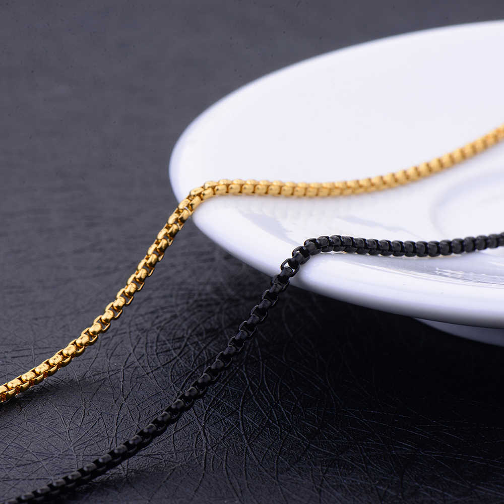 Wholesale Stainless Steel 2.5MM Gold Black Color Square Pearl Chain Necklace Fashion Unisex Jewelry Fit Pendant Length 60CM