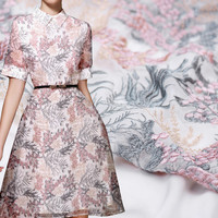 Rime Silver Flower Silk Embroidery High end Silk Embroidery Fabric Silk Fabric Summer Skirt Fabric