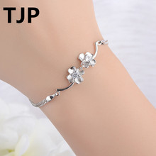 TJP Fashion 925 Sterling Silver Women Bracelets Accessories Lucky Clover Design Girl Lady Engagement Party J
