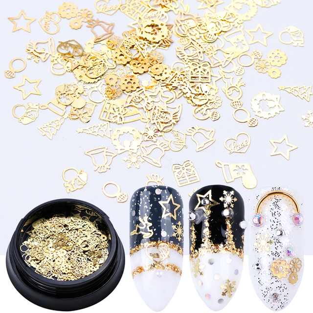 1 Box Nail Art Decoration Metal Slices Mixed Gold Christmas Snow Bell Star Hollow 3D Thin Flake Nail Jewelry Manicure Tip JI708