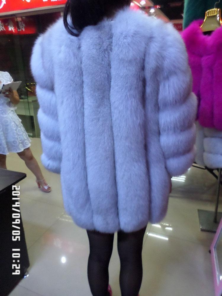 Linhaoshengyue Lungo 75 cm Blu di pelliccia di volpe lungo rosso nero a maniche lunghe giacca-in Pellicce vere da Abbigliamento da donna su  Gruppo 2