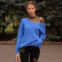 WOTWOY 가을 겨울 니트 풀오버 여성 긴 소매 기본 캐시미어 스웨터 여성 풀오버 니트 캐주얼 블루 여성 점퍼