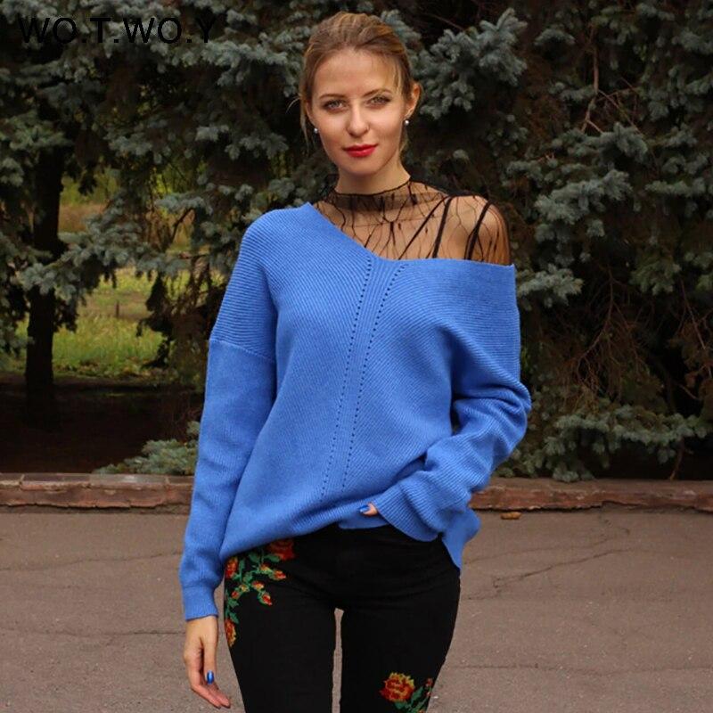 Женский кашемировый свитер WOTWOY, повседневный синий вязаный свитер с длинным рукавом на осень и зиму|Водолазки|   | АлиЭкспресс
