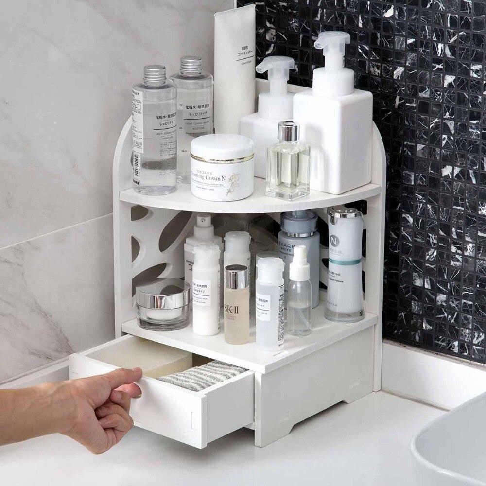 Drawers Type Triangle Corner Storage Shelf White 2 Layers Bathroom Shower Gel Organizer Shelves Desktop Cosmetics Storage Rack