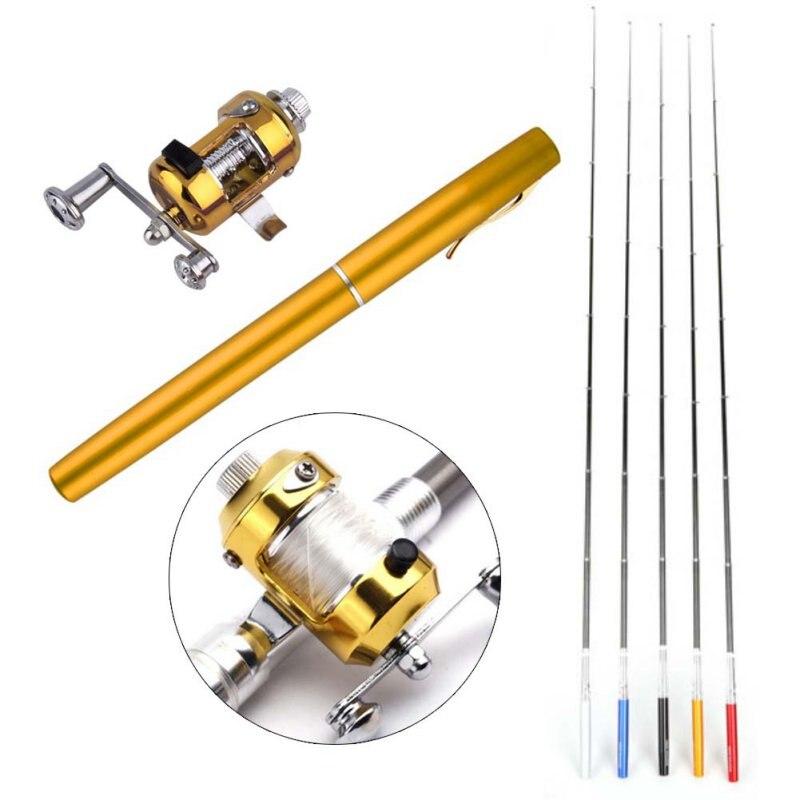 Mini caña de pescar telescópica de bolsillo portátil con forma de bolígrafo doblado caña de pescar con rueda de carrete
