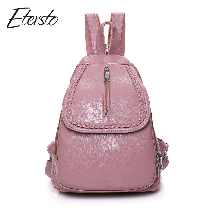 Etersto 2017 Leather Backpacks Women Bags For Teenagers Girls Fashion Female Backpack High Quality Designer Ladies school bag aidoudou hot sale rivet women leather backpack fashion school bags for teenagers girls high quality ladies backpacks black