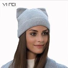 Mujeres sólidas Otoño Invierno sombrero hecho punto lindo Kitty Beanie para  las mujeres chica invierno Real lana de gato del cas. 9fae9fd1b7f