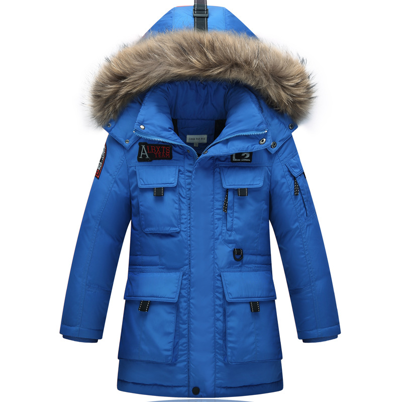 The Children Down In The Long and Thick Warm NEW Down Jacket Children's Clothing White Duck Down New Year Lively bringing in the new year